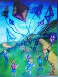 dzieci z latawcami